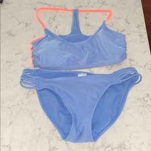 Xhilaration Light Blue &Neon Orange Swim Set